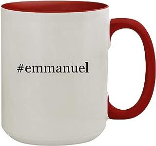 #emmanuel - 15oz Hashtag Colored Inner & Handle Ceramic Coffee Mug, Red