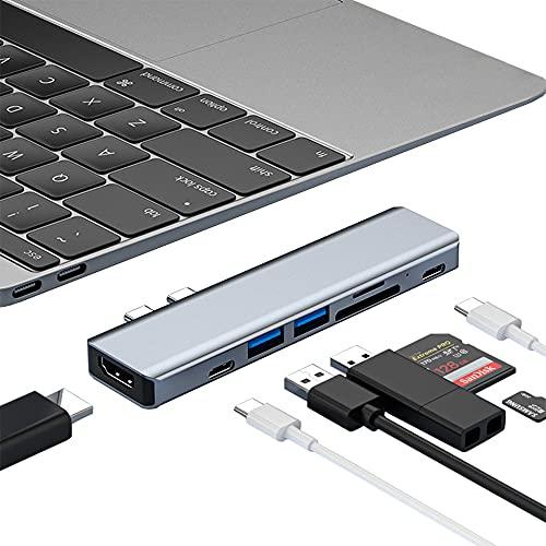 MacBook ハブ USB C ハブ Macbook Pro/Air専用 7-in-2 MacBook Pro ハブ 4K HDMI ポート+87W PD急速充電ポート+USB 3.0/2.0ポート+USB-Cデータ転送ポート+SD&TFカード スロット thunderbolt3対応 type c ハブ MacBook Pro 2020/2019/2018/2017/2016, MacBook Air 2020/2019/2018に対応