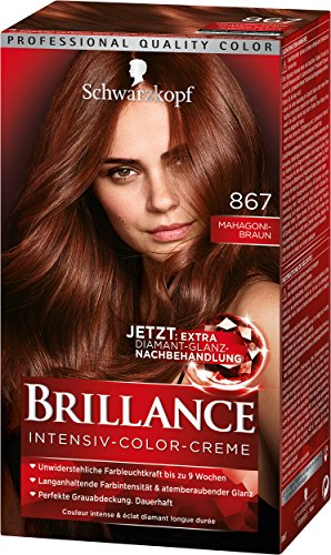 Brillance Intensiv-Color-Creme 867 Mahagoni-Braun Stufe 3, 3er Pack (3 x 143 ml)