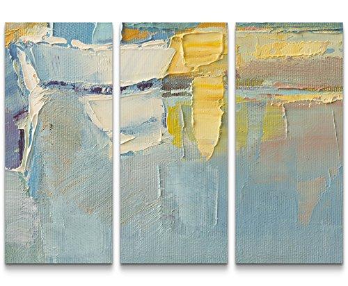 Paul Sinus Art Leinwandbilder | Bilder Leinwand 130x90cm Ölgemälde mit Pinselstriche in kühlen Farben