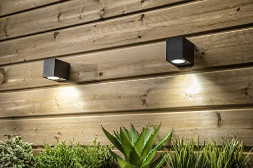 CGC Borde cuadrado negro Arriba o abajo Individual GU10 Aplique de pared IP54 Resistente a la intemperie Interior al aire libre Jardín Patio Garaje Porche Entrada de auto