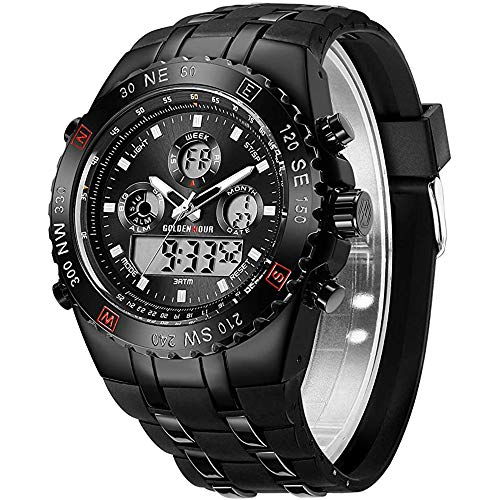 Men's Watch, Outdoor Sports Electronic Watch, LED Watch, Stopwatch Waterproof Digital Analog Watch,A