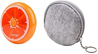 Morepack Small Cute Weekly Pill Box 7 Day Pill Case,with Felt Storage Pouch (Orange)