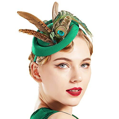 stile anni 20 Fascia per capelli con piume di pavone da donna Coucoland