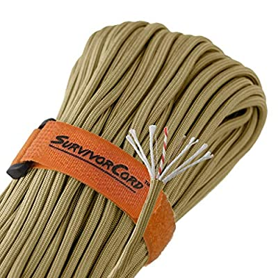 620 LB SurvivorCord - The Original Patented Type III Military 550 Parachute Cord with Integrated Fishing Line, Multi-Purpose Wire, and Waterproof Fire Starter. 100 FEET, Coyote Brown Paracord