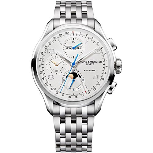Baume & Mercier Clifton Mens 43mm Stainless Steel Automatic Chronograph Watch - Silver Face Full Calendar Moon...