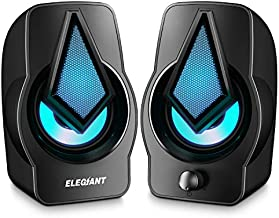 Computer Speakers ELEGIANT USB Speakers RGB Gaming Speakers with Rhythm Mode Multi-Light Modes, Easy-Access Volume Control USB Powered Stereo Speakers for PC and Laptops