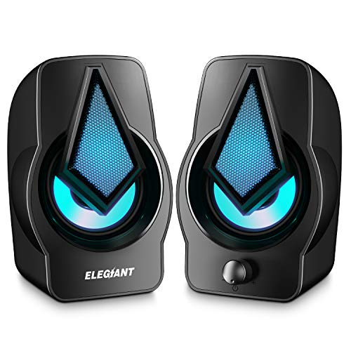 Computer Speakers ELEGIANT PC Speakers 2.0 USB Powered Stereo Volume Control with LED Light Mini Portable Gaming Speakers 3.5mm for PC Cellphone Tablets Desktop Laptop