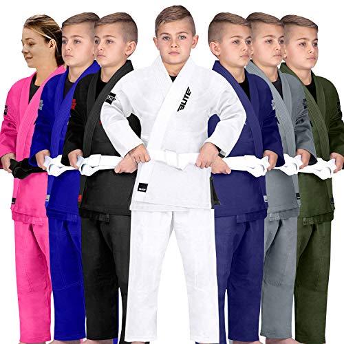 Elite Sports Kids BJJ GI, Youth IBJJF Children's Brazilian Jiujitsu Gi Kimono W/Preshrunk Fabric & Free Belt (See Special Sizing Guide) (Premium White, C2)