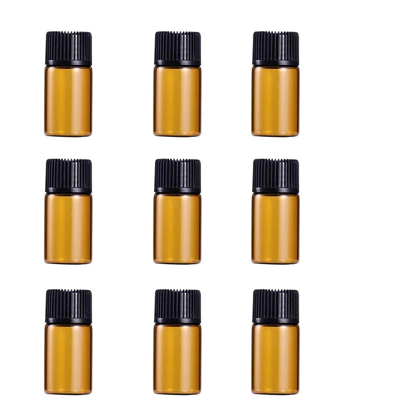 恐ろしいトースト批判的にWINOMO 遮光瓶 アロマオイル 精油 小分け用 遮光瓶セット アロマボトル 保存容器 エッセンシャルオイル 香水 保存用 詰替え ガラス 茶色(9個入り 3ml)