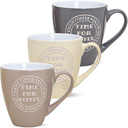 matches21 Große Jumbo Becher Tassen Kaffeetassen Kaffeebecher 3-tlg. Set SONDERPREIS Keramik je 11 cm / 440 ml