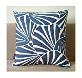 Gagliano Cushion Pillow Cases Accent Embroidered 1pc Navy Ensign Blue Art Deco Fans Abstract Geometric Circles Decorative Throw Pillow Cover Cotton Canvas 18'x18',45x45cm