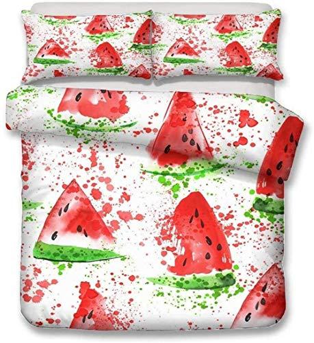 XZHYMJ 3D Fruit Lemon Strawberry Watermelon Duvet Cover Pillow Case Cotton Renforcé Microfibre with Zip SetD_180x210cm