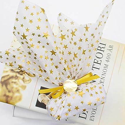 50x70cm 60 Blatt Geschenkpapier Metallic Seidenpapier Folie Packpapier mit Stern Streifen Punktmuster zum Basteln Weihnachten Geschenk Geburtstag Hochzeit Gold 4 Muster