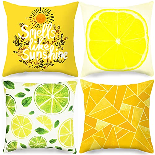 Summer Pillow Covers 18'×18' Set of 4, Flax Throw Pillow Covers, Lemon Decorations Pillow Case for Sofa, Couch, Bed, and Car.