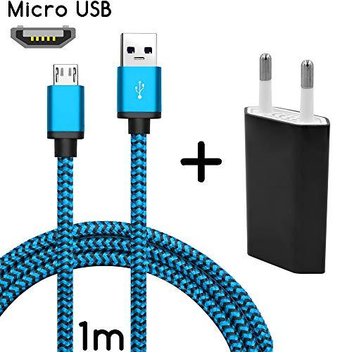 TheSmartGuard Original 2in1-Set mit HTC Desire Eye Netzteil Ladegerät und HTC Desire Eye Ladekabel (1 Meter / 1m) / Datenkabel/Kabel in blau - NEU mit überarbeiteter Ladegeschwindigkeit!