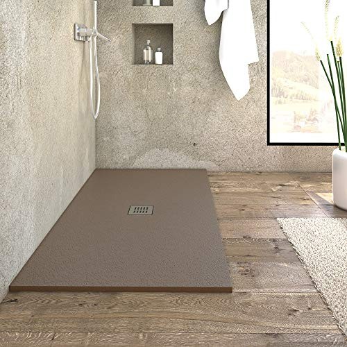 Piatto doccia in marmoresina da design ultrasottile linea PIETRA colore marrone (130 x 90 h 2,5)