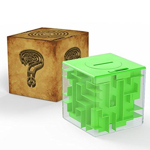 ThinkMax Money Maze, Put Cash Inside Puzzle Storage Box, Gran Regalo para niños y niños (Verde)