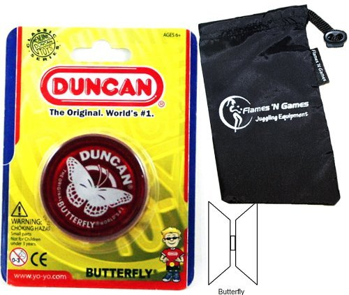Duncan Butterfly YoYo (Red) Beginners Entry-Level Yo Yo with Travel Bag! Great YoYos For Kids and...