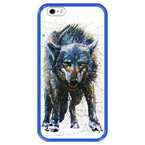 Hapdey Funda Azul para [ Apple iPhone 6 Plus - 6S Plus ] diseño [ Lobo, Acuarela ] Carcasa Silicona Flexible TPU
