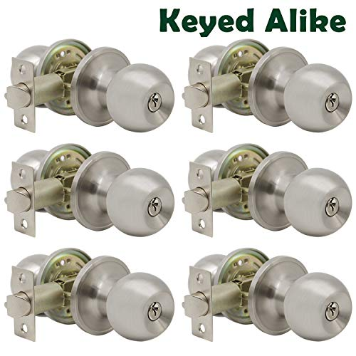 Probrico Satin Nickel Entry Door Knobs Combo Pack, 6 Pack Keyed Alike Entrance Door Locks, Ball Door Knobs with Lock and Keys for Interiro Exterior