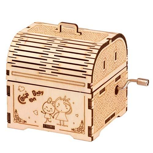 EEOO Caja de música de madera 3D, con manivela de mano, para manualidades, kit de manualidades de madera, para decoración del hogar, regalos para niños, 7 x 7 cm