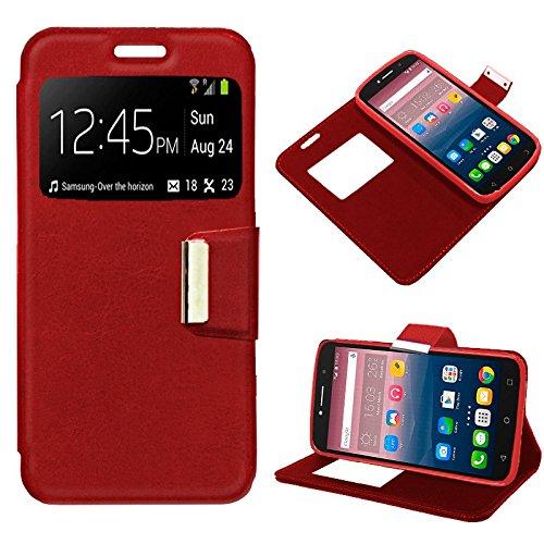 iGlobalmarket Funda Flip Cover Tipo Libro con Tapa para Alcatel Pixi 4 (6) 3G / Alcatel A2 XL Liso Rojo