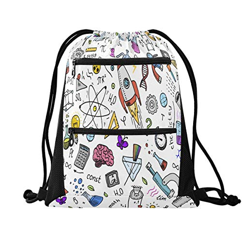 HMZXZ RXYY Education Math Physics Drawstring Gym Bagwith zip pocket Sackpack Drawstring Cinch Backpack Sport Rucksack Daypack Travel Yoga for Men Women Boys Girls