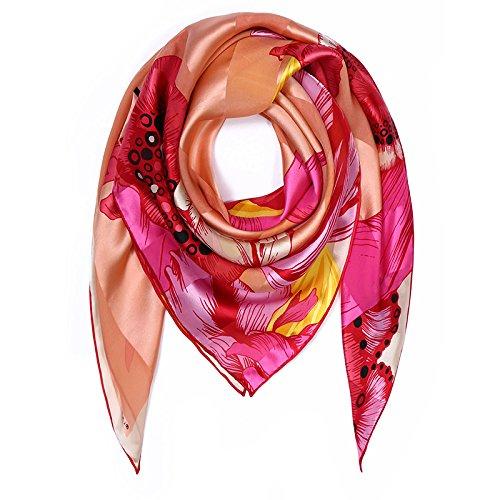 LLZHWSJ Silk/Ms/Impression/Silk/Écharpe/Châle,Un Rouge