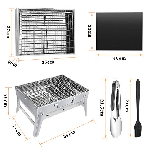 51hHHQMdh0L - Gifort Portable Grill, BBQ Holzkohlegrill Tragbar Mini Grill Rostfreier Stahl Faltbare Mini Holzkohlegrill BBQ für Outdoor Garten Camping Party Beach Barbecue