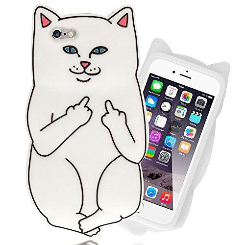 NALIA 3D Custodia compatibile con iPhone 6S 6, Cover Protezione Ultra-Slim Cartoon Case Protettiva Morbido Cellulare in Silicone Gel, Gomma Telefono Bumper Sottile, Designs:White Cat