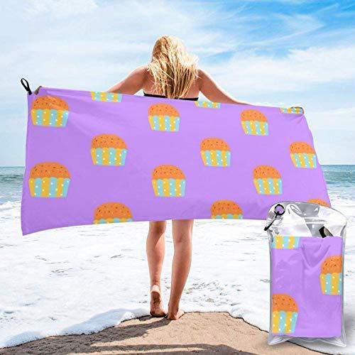 Toallas de Playa sin Arena Cup Cake Toalla de baño súper Absorbente de Secado rápido para Nadar y al Aire Libre, Toalla de Yoga portátil para niños Adultos