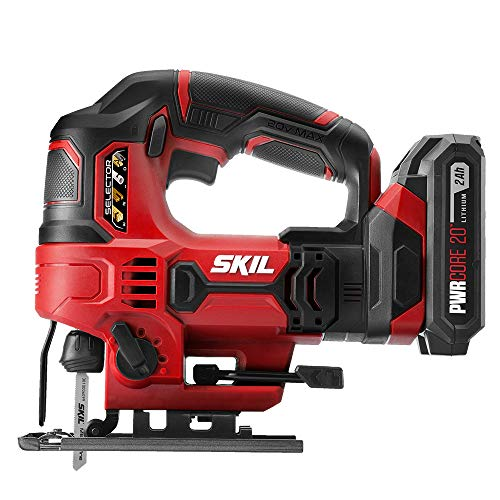 SKIL 20V 7/8 Inch Stroke Length Jigsaw, Includes 2.0Ah PWRCore 20 Lithium Battery and Charger - JS820302
