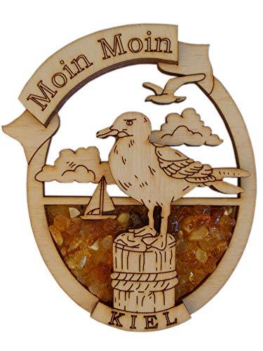Unbekannt Maritimer Kühlschrankmagnet mit Kiel Motiv und Möwe - Dekorativer Magnet aus Holz mit echtem Bernstein Seemöwe und Moin Moin Schriftzug