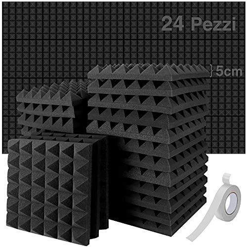 TBCWRH 24 Pezzi Pannelli Fonoassorbenti, 30 * 30 * 5cm Pannello Fonoassorbente per Podcasting, Pannelli Isolamento Acustico Studi di Registrazione, Uffici, Home Learning, Insonorizzazione Stanza