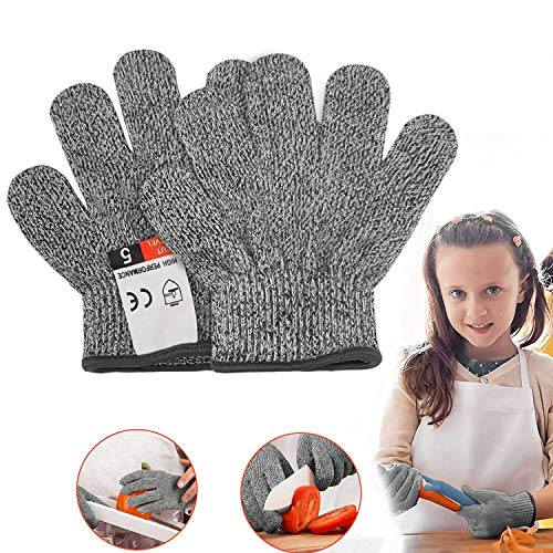 YIUON Cut Resistant Gloves, Safety Kitchen Food Grade Cut-less Gloves for Kitchen, Outdoor Yard Work, Wood Carving Carpentry, Art Work, Craft, Gray, 1 Pair (xs)