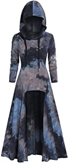 Womens Renaissance Costumes Hooded Robe Tie Dye Vintage Pullover High Low Long Hoodie Gothic Dress Cloak