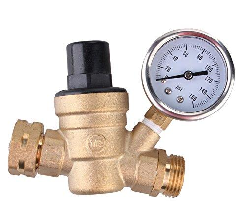 WOODLEV WHOLEV Water Pressure Regulator,Brass Lead-Free Adjustable RV Water Pressure Reducer Manual Operation Pressure regulating Valve DN20 1.6mpa with Gauge, Includes Inlet Screened Filter