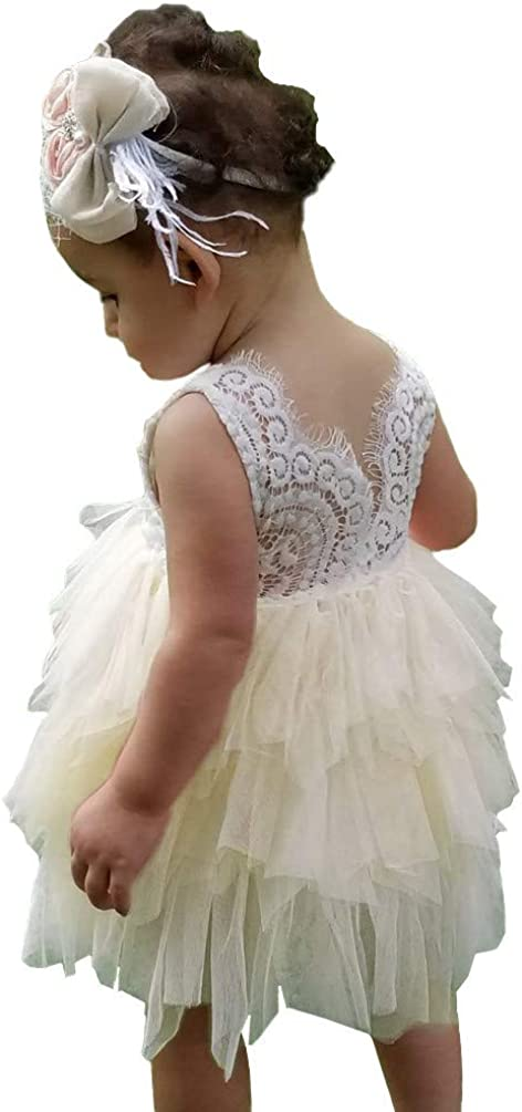 Lace Flower Girl Dress for Wedding Toddler Birthday Party Christmas Dress Princess Backless Tulle Tutu Baby Dress