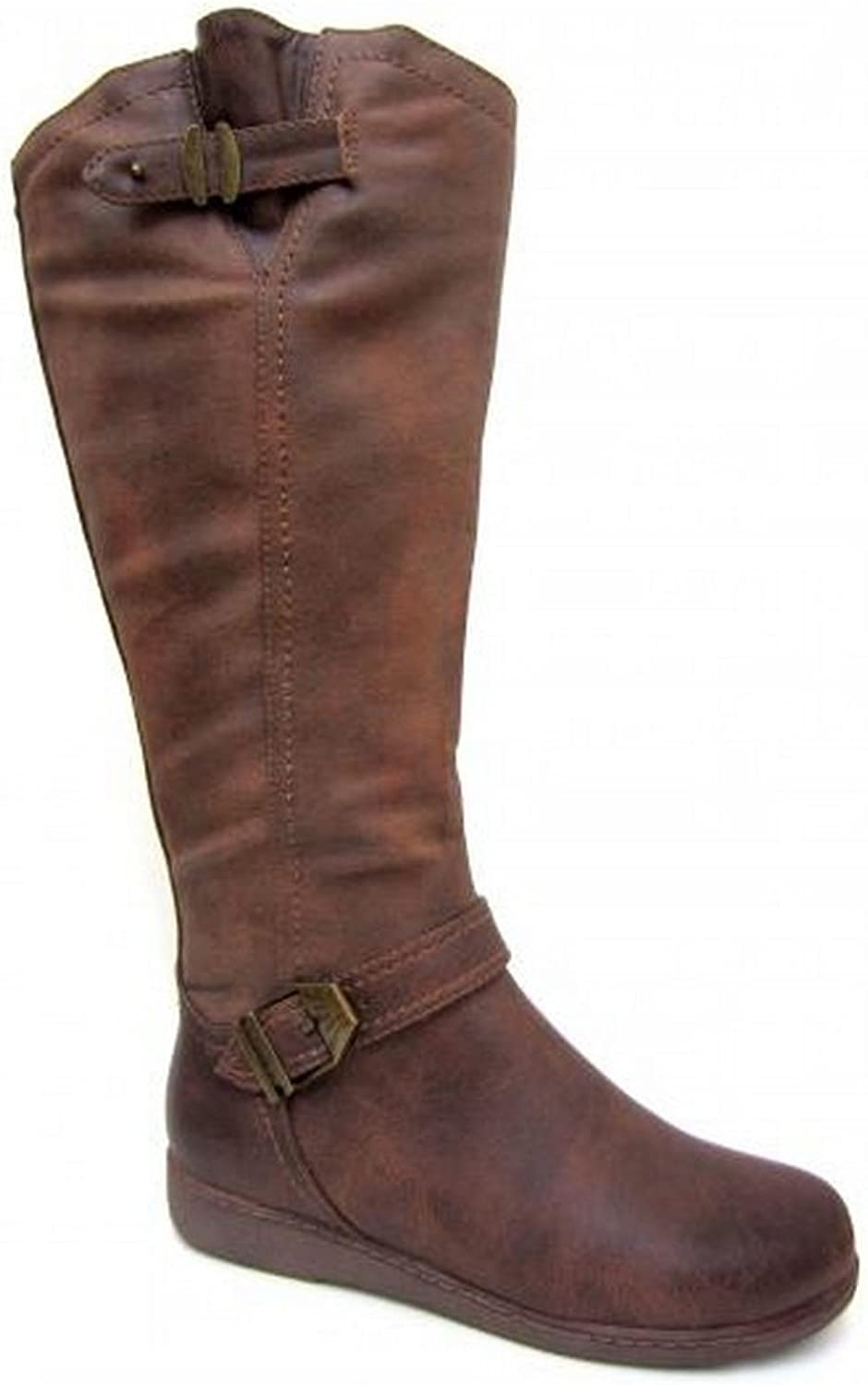 Spot On Womens Ladies Zip Up Knee High Boots