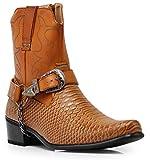Alberto Fellini Men's Crocodile Prints Western Cowboy Boots with Side Zipper, Belt Buckle and Metal Chain (11, Brown)