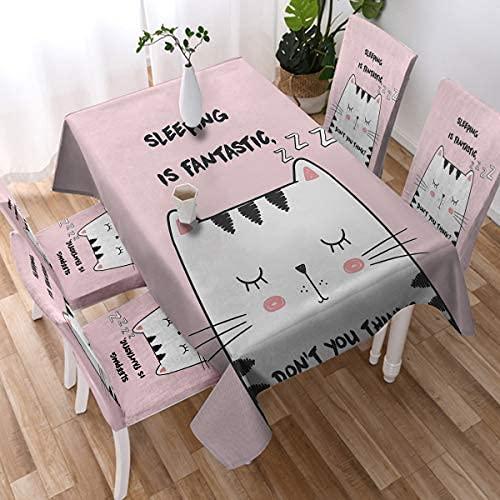 Mantel de gato estirable para niños y niñas con estampado de animales, mantel Kawaii a prueba de color rosa para la cocina y comedor (152 x 153 cm)
