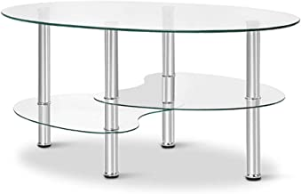 MODAA 3 Tier Glass Coffee Table, Modern Furniture Decor Modern Oval Smooth Glass Tea Table End Table for Home Office with ...