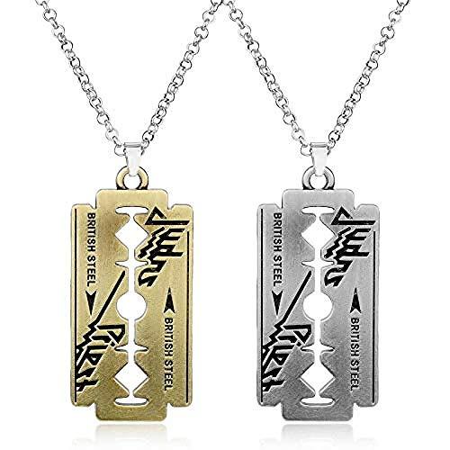 JIUJIN Musikband Judas Priest Halskette Rasiermesser Klingenform Anhänger Mode Halsketten Für Frauen Männer Freundschaftsgeschenk