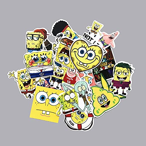 HENJIA 22 Piezas Lindo Amarillo Esponja Pantalones Cuadrados Divertido TV Pegatina de Dibujos Animados Juguete portátil Equipaje monopatín Pegatina de Anime