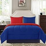 New Sega Home Textiles Solid Reversible Blue/Red 3-Piece Full/Queen Comforter Set