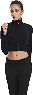 Urhapc Women's Workout Crop Top Fitted Pullover Zip Up Long Sleeve Sweetshirt Black
