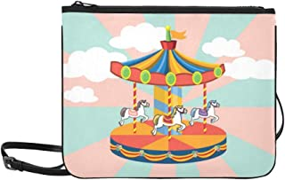 Amusement Park Amusement Park Merry-go-round Pattern Custom High-grade Nylon Slim Clutch Bag Cross-body Bag Shoulder Bag