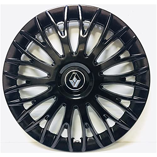 Cubierta central de rueda de coche Cubierta de llanta de rueda de automóvil R15 Piano Bright Hub Black Hub Taps Flexibles Compatible con Renault Clio Megane 15 pulgadas 4pcs / Conjunto con emblema Tap