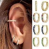HUAHU Pendientes de aropequeños de Cristal y circonita de Color Dorado/Plateado, ArosDelgados con arcoíris Boho, Pendientes clásicos...